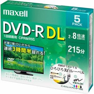 MAXELL DRD215WPE.5S 録画用DVD-R DL 215分 2-8倍速 ホワイトワイドプリンタブル 5mmスリムケース