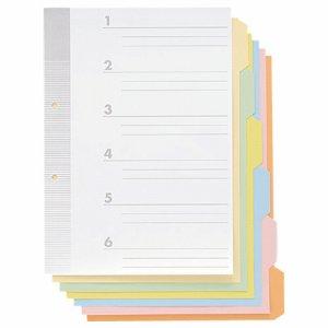 TO6M-10 見出しカード A4タテ 2穴 6色6山+扉紙 汎用品