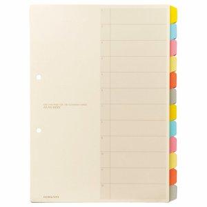 コクヨ シキ-100N カラー仕切カード(ファイル用・12山見出シ) A4タテ 2穴 6色+扉紙