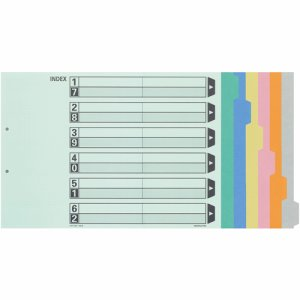 コクヨ シキ-113 カラー仕切カード(ファイル用・6山見出シ) A3ヨコ 2穴 6色+扉紙