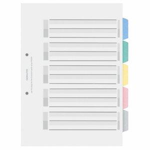 コクヨ シキ-P20 カラー仕切カード(PP) ファイル用 A4タテ 2穴 5色 5山見出シ+扉紙 1組