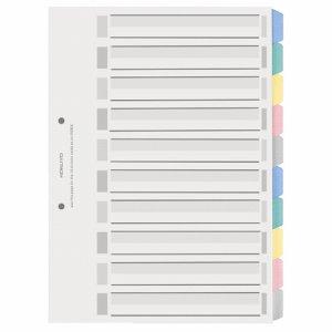 コクヨ シキ-P120 カラー仕切カード(PP) ファイル用 A4タテ 2穴 5色 10山見出シ+扉紙 1組