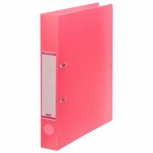 DRFM-A4-P 半透明表紙Dリングファイル A4タテ 2穴 背幅43mm ピンク 10冊セット 汎用品