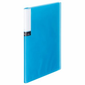 TPCBA4-12B 透明表紙クリアブック A4タテ 12ポケット 背幅8mm ブルー 10冊セット 汎用品