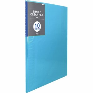 PLUS FC-210SC BL シンプルクリアーファイル A4タテ 10ポケット 背幅6mm ブルー