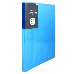 PLUS FC-220SC BL シンプルクリアーファイル A4タテ 20ポケット 背幅10mm ブルー