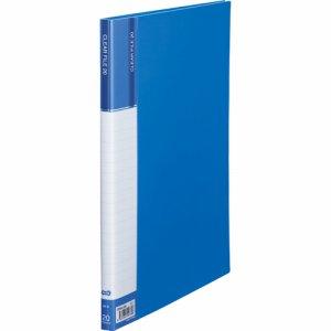 CFDA4-20B 台紙入クリヤーファイル A4タテ 20ポケット 背幅14mm ブルー 汎用品