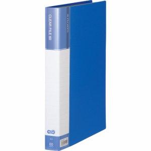 CFDA4-60B 台紙入クリヤーファイル A4タテ 60ポケット 背幅34mm ブルー 6冊セット 汎用品