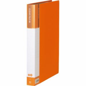 CFDA4-60YR 台紙入クリヤーファイル A4タテ 60ポケット 背幅34mm オレンジ 6冊セット 汎用品
