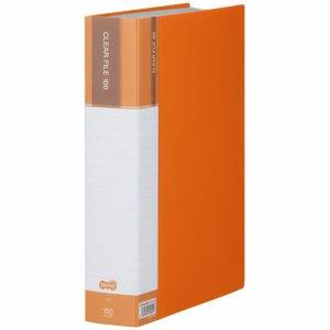 CFDA4100YR 台紙入クリヤーファイル A4タテ 100ポケット 背幅62mm オレンジ 6冊セット 汎用品