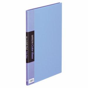 KINGJIM 132CHアオ クリアーファイル カラーベースハンディ A4タテ 10ポケット 背幅10mm 青 132CH