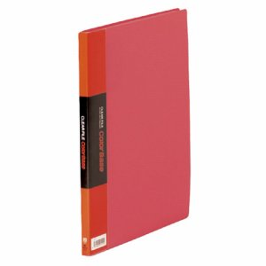 KINGJIM 132Cアカ クリアーファイル カラーベース A4タテ 20ポケット 背幅14mm 赤 132C