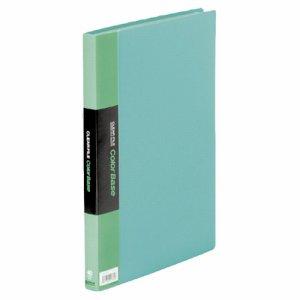 KINGJIM 132CWミト クリアーファイル カラーベースW A4タテ 40ポケット 背幅24mm 緑 132CW