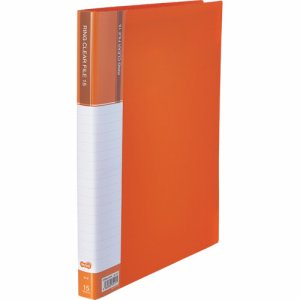 CFSA4-15YR 差替式PPクリヤーファイル A4タテ 30穴 15ポケット オレンジ 10冊セット 汎用品