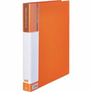 CFSA4-25YR 差替式PPクリヤーファイル A4タテ 30穴 25ポケット オレンジ 10冊セット 汎用品