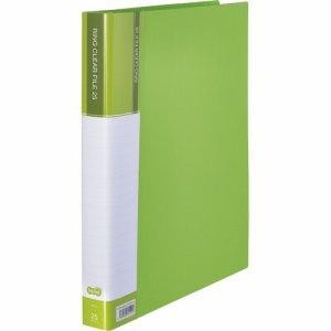 CFSA4-25LG 差替式PPクリヤーファイル A4タテ 30穴 25ポケット ライトグリーン 10冊セット 汎用品