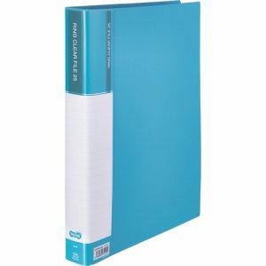 CFSA4-25LB 差替式PPクリヤーファイル A4タテ 30穴 25ポケット ライトブルー 10冊セット 汎用品