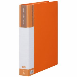 CFSA4-35YR 差替式PPクリヤーファイル A4タテ 30穴 35ポケット オレンジ 汎用品