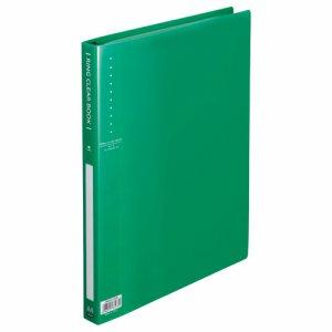 ORBA4-10GN リングクリヤーブック A4タテ 30穴 10ポケット付属 背幅25mm グリーン 10冊セット 汎用品