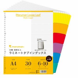 マルマン LT3006F クリアポケット専用 ラミネートタブインデックス A4ワイド 30穴 6色6山+扉紙