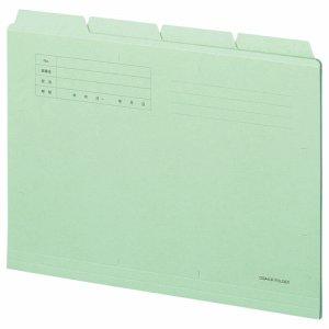 OSA4-CF4G カットフォルダー4山 A4 グリーン 4冊パック 汎用品