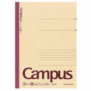 コクヨ ノ-E3AN 再生紙キャンパスノート(普通横罫) セミB5 A罫 30枚