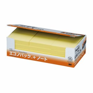 3M 6561-Y20 ポスト・イット エコノパック ノート 再生紙 75×50mm イエロー