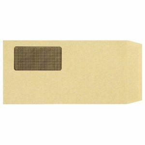 MN3-100K 窓付封筒 裏地紋付 長3 テープのりなし 70G/M2 クラフト(窓:フィルム) 汎用品