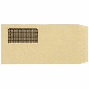 MN3G1000TK 窓付封筒 裏地紋付 長3 テープのり付 70G/M2 クラフト(窓:グラシン紙) 業務用パック 汎用品