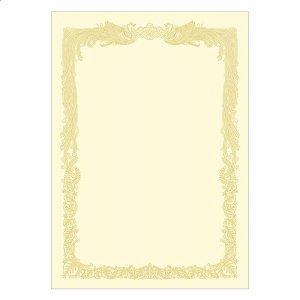 ササガワ 10-1168 タカ印 OA賞状用紙 クリーム A4 ヨコ書用 業務用パック