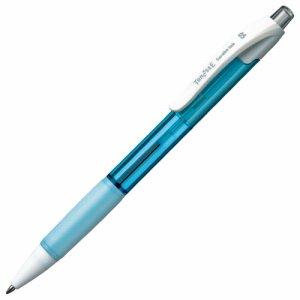 TS-SB05-AB ノック式油性ボールペン(なめらかインク) 0.5mm 黒 軸色アクアブルー 10本セット 汎用品