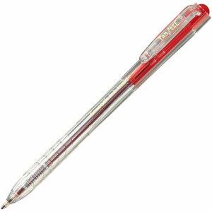TSH-SI07TRD ノック式なめらかインク油性ボールペン 0.7mm 赤 (軸色:クリア) 汎用品