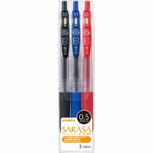 ゼブラ JJ15-3CA ゲルインクボールペン サラサクリップ 0.5mm 3色(各色1本)