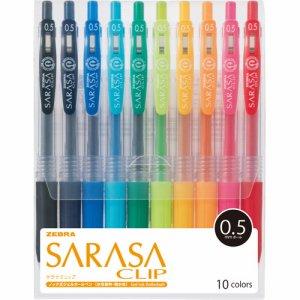 ゼブラ JJ15-10CA ゲルインクボールペン サラサクリップ 0.5mm 10色(各色1本)