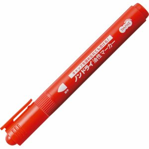 TS-NDMA-1R キャップ式ノンドライ油性マーカー シングル 細字 赤 1セット(10本) 汎用品