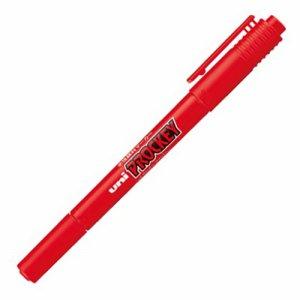 三菱鉛筆 0150873 水性マーカー プロッキー 細字丸芯+極細 赤