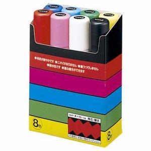 三菱鉛筆 PC17K8C 水性マーカー ポスカ 極太角芯 8色各色1本