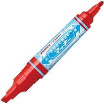ゼブラ P-WYT17-R 水拭きで消せるマッキー 太字+細字 赤