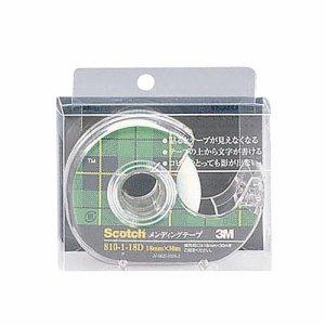 3M 810-1-18D スコッチ メンディングテープ 810 小巻 18mm×30m ディスペンサー付 クリアケース入