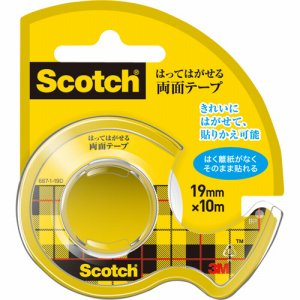 3M 667-1-19D スコッチ はってはがせる両面テープ 19mm×10m ディスペンサー付