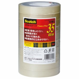 3M 500-3-1535-10P スコッチ 透明粘着テープ 15mm×35m