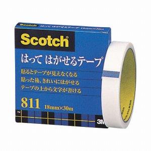 3M 811-3-18 スコッチ はってはがせるテープ 811 大巻 18mm×30m 紙箱入 カット金具付