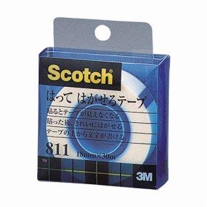 3M 811-1-18C スコッチ はってはがせるテープ 811 小巻 18mm×30m クリアケース入