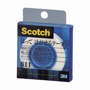 3M 811-1-12C スコッチ はってはがせるテープ 811 小巻 12mm×30m クリアケース入