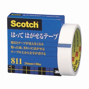 3M 811-3-24 スコッチ はってはがせるテープ 811 大巻 24mm×30m 紙箱入 カット金具付