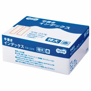 TGK-237R 手書きインデックス 特大 40×34mm 赤枠 業務用パック 1パック(1350片:6片×225シート) 汎用品