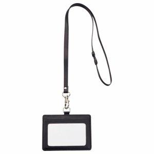 TPUN-D 合皮製ネームカードホルダー ヨコ型 ストラップ付 ブラック 汎用品