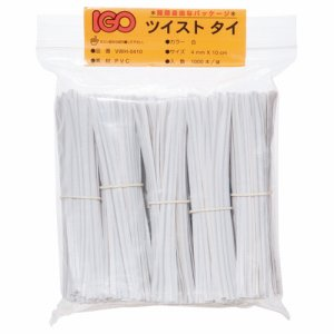 IGO VWH-0410 ツイストタイ PVC製 幅4mm×長さ10cm 白