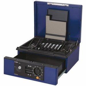 CARL CB-D8770-B キャッシュボックス 2ウェイオープンタイプ A4 W352×D280×H150mm ブルー