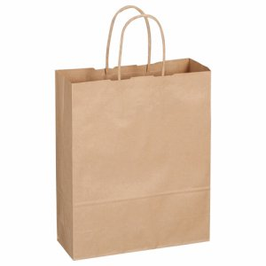 OR-B-S 紙手提袋 丸紐 小 ヨコ260×タテ320×マチ幅100mm 茶無地 汎用品